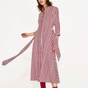 Zara Popular Striped Belted Maxi Shirtdress